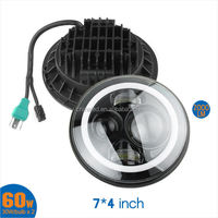 "7"" Round LED Headlight H4/9003 H13/9008 with White&Amber Angel Eyes/Halo Rings for Jeep Wrangler"