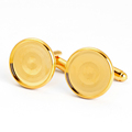 Wholesale 16mm blank DIY cufflink gold cufflink