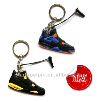 Sale Customized PVC Rubber 3D Sport Basketball Mini Shoe Keyring for Jordan