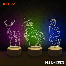 Woody fashionable color changed usb led desk table light lamp Acrylic 3d illusion lamp