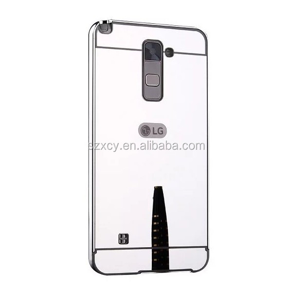 for LG stylus 2 back cover, mirror metal bumper case for LG stylus 2