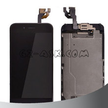 cell phone parts Black color display and digitizer touch screen and home button and front camera assembly for iphone 6 lcd