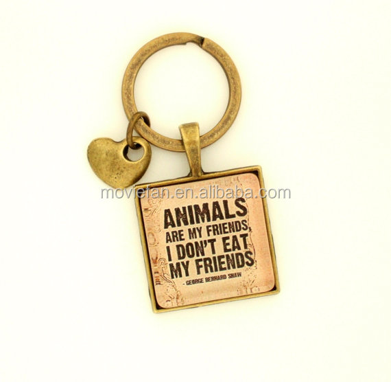 Animal Lover keychains George Bernard Shaw Quote keyrings Gift for Vegetarian