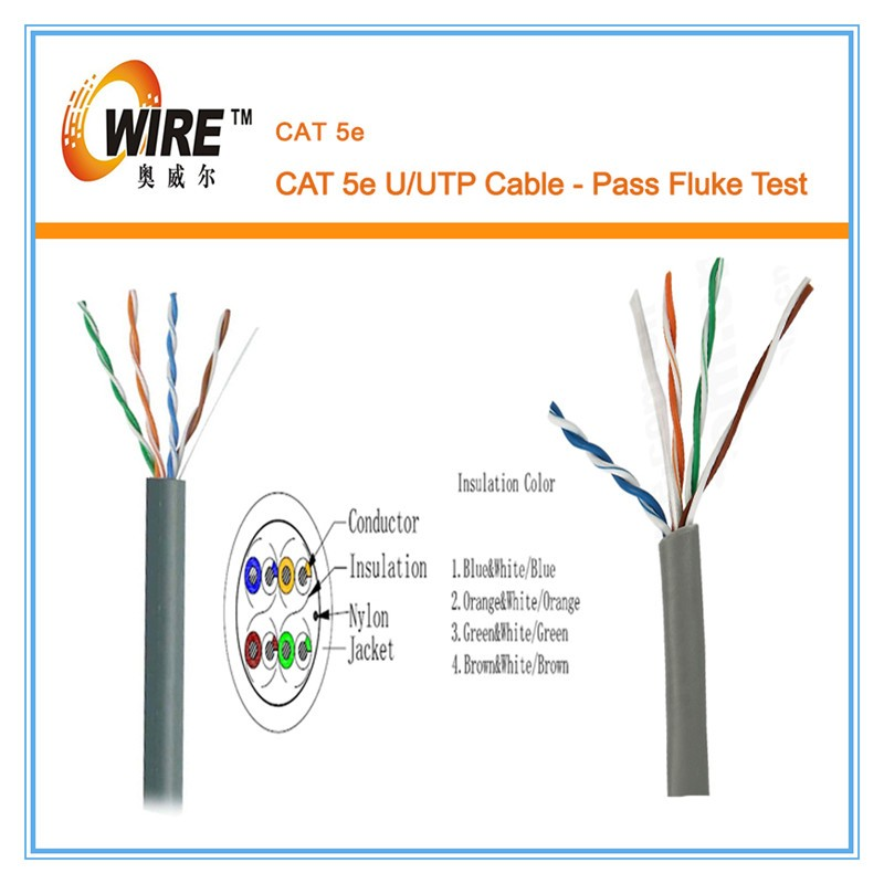 Pass Test1000ft 4 pair solid utp cat 5e cable , UL ISO CE FCC RoHS compliant cable <strong>network</strong> cat5e cable