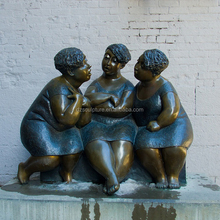 mordern design bronze three fat woman art sculpture talking