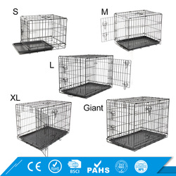 2017 New Animal Cage Folding Double Door Crate Large Dog Kennel Metal Dog Cage