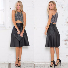 Cheap wholesale midi length A line black leather skirt for woman