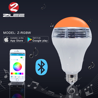 High quality wireless speaker led music bulb, App Remote control the color, brightness turn on/off led smart lamp