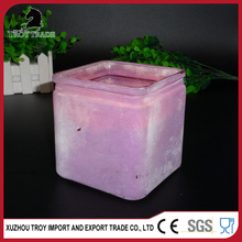 2016 new products purple square cube glass candle holder jar