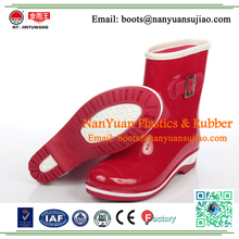 2017 Summer Fashion Women Red Ankle Neoprene Rain Boots