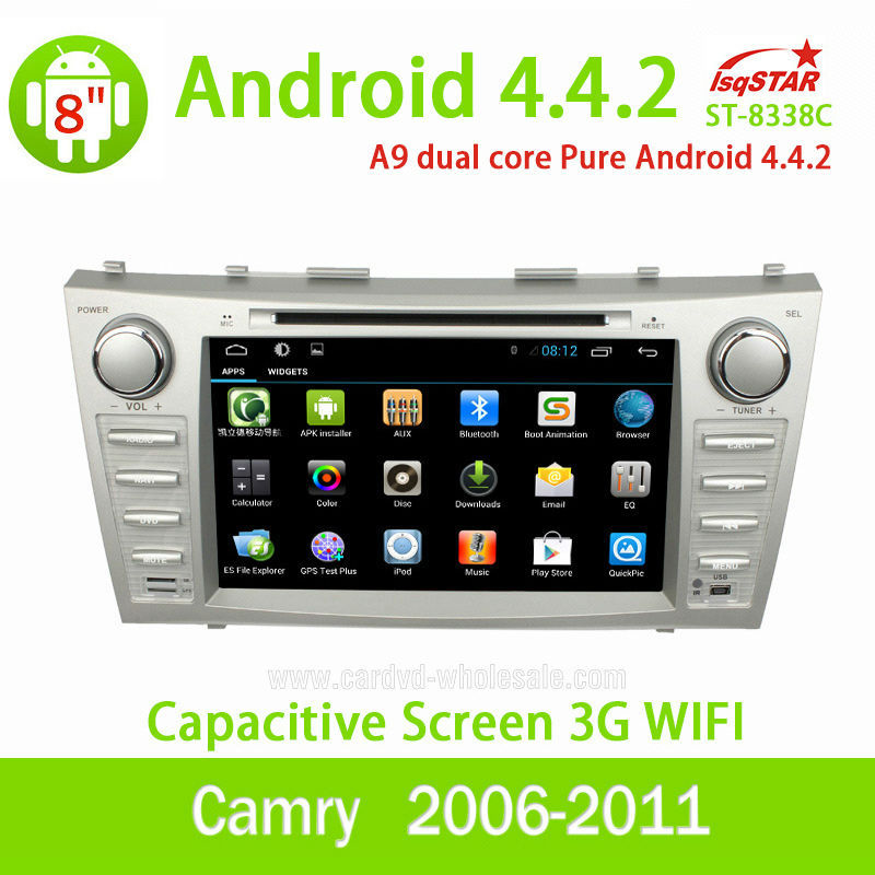 Wholesale with Mirror link OBD 3G Wifi for Toyota Camry 2006 to 2011 pure Android 4.4.2 Car Radio with Gps navigation