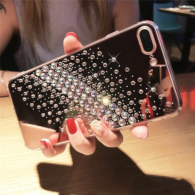 Diamond Bling Bling Clear Plastic Mobile Plating TPU Soft Mirror Phone Case For iPhone 6 6 Plus 7 7 Plus X