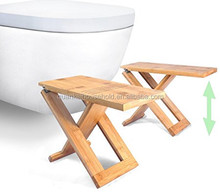 Bamboo Folding Toilet Stool Two Portable & Adjustable Height Footstools: 7, 8 and 9 inch Foldable Bathroom Step