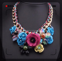 2015 fashion designCrystal diamond necklace chain of clavicle flower necklace