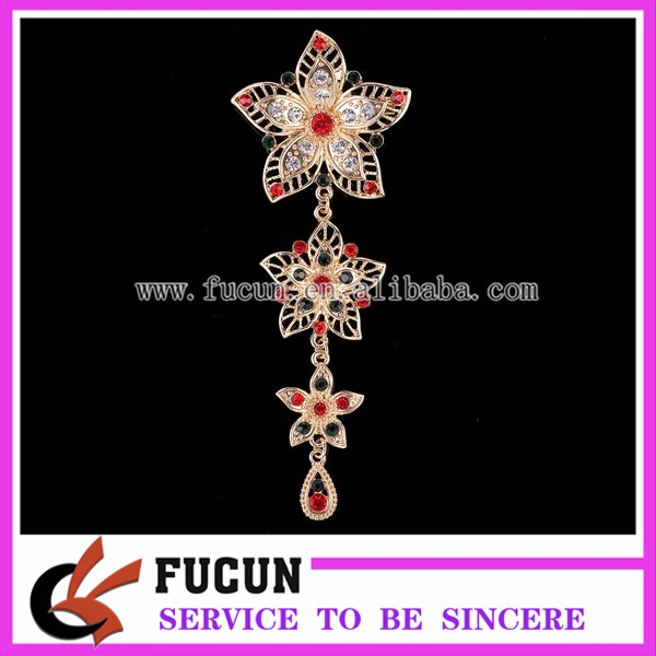 Fancy vintage metal flower hanging brooch crystals muslim women hijab brooch pin