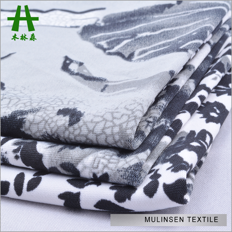Mulinsen Textile Knitting Polyester 4 Way Spandex Printed Chinese Character Fabric