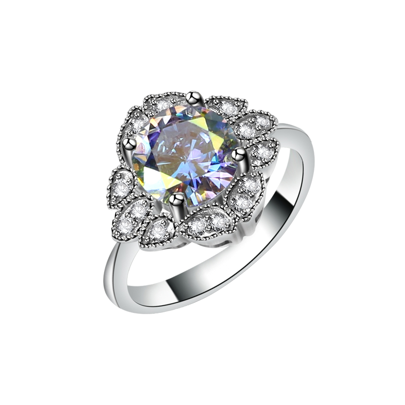 <strong>L10</strong> Elegant Design Solitaire Diamond Ring Solid Silver Wedding Couple Ring Wholesale