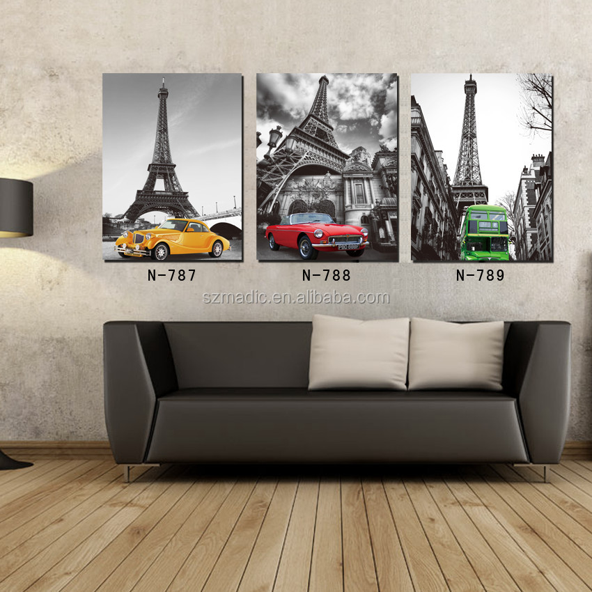 Senior Hotel Decorative Art Pictures Painting Company Names 3 Panel Eiffel Tower and Cars Landscape Quality Canvas Prints