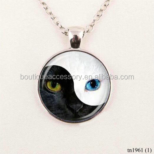 Wholesale Cat Eyes Yin Yang Necklace Chinese Fashion Jewelry, Unique Gift Zen Glass Cabochon Pendant Necklace