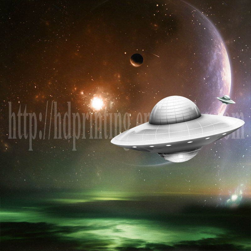Space picture of UFO canvas art decoration painting