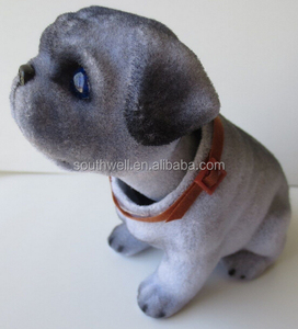 Gray Bobbing Pug Dog nodding head dog shaking head toy dog dashboard bobble head