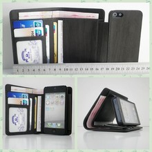 High quality PU leather wallet phone case for iphone 5 5s with stand and card holder man business phone wallet wholesale