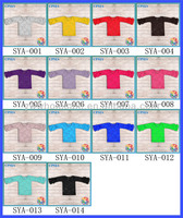 2014 New Arrival Fancy Solid Color Long Sleeve Lace Baby Girls T Shirt Many Colors For Choose