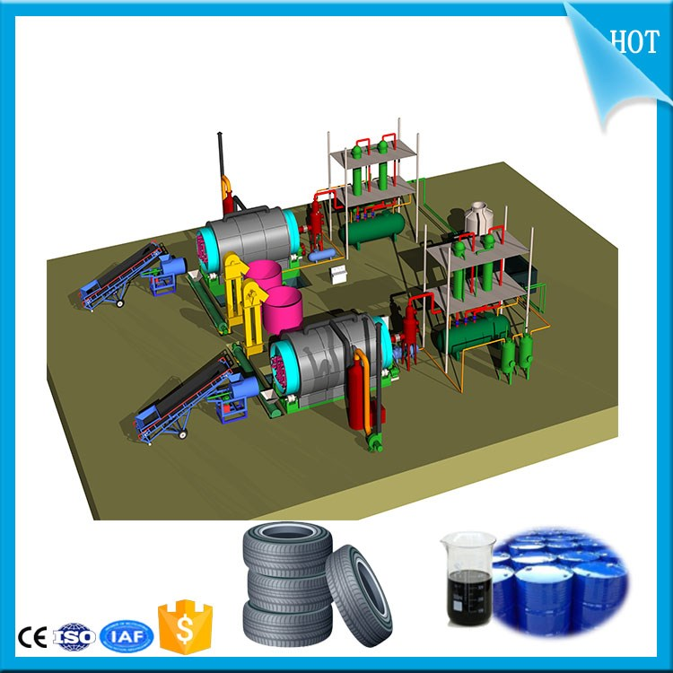5 to 20t High oil yield used tire pyrolysis plant to fuel oil/tire oil refining machine to diesel