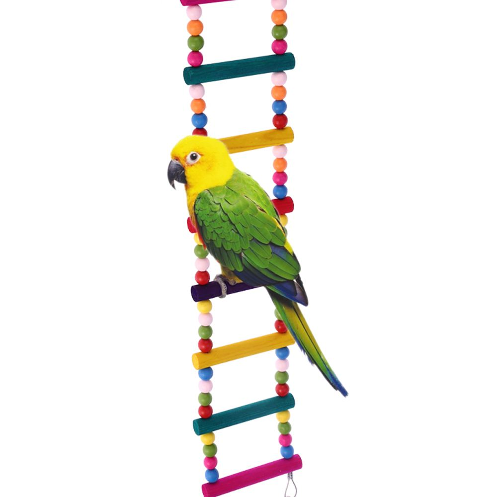 Natural Wood Pet Bird Parrot Toy Ladder Toy with Steel Wire Connecting Flexible Bird Ladder for Parrot Parakeet Budgie Cockatiel