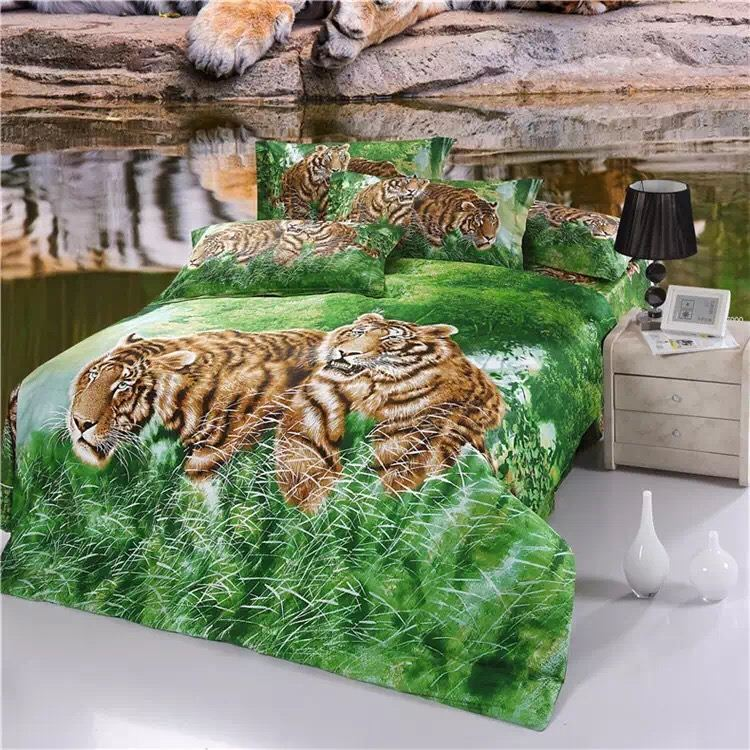 New Arrival 5D Oil Painting two tigers Printed 100% Cotton Bedding Set