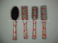 Nylon vent manufacturing hair brush set with printing handle,hair salon equipment in ningbo made in china