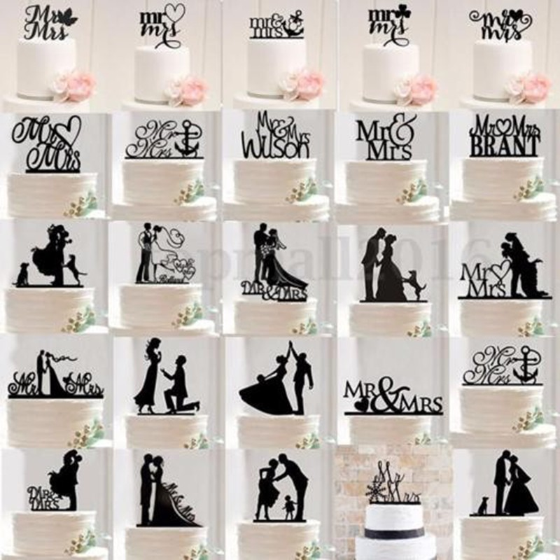 Hot Sale Cheap Wedding cake topper with two cats pet silhouette Acrylic Cake Topper