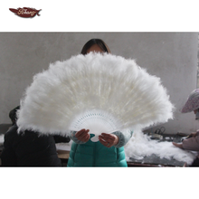 FK 80*45cm Feather Turkey Feather Marabou Large White Hand Fan For <strong>Weddings</strong> Decoration