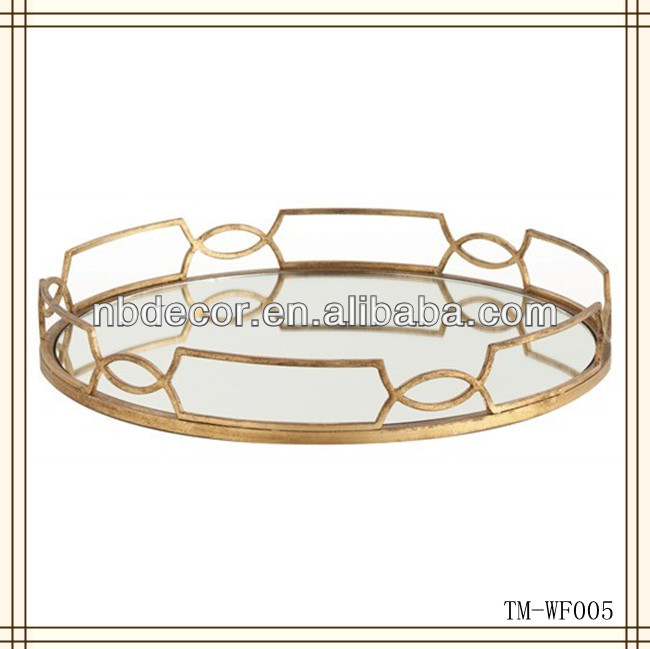 Hot sale metal decorative mirror tray