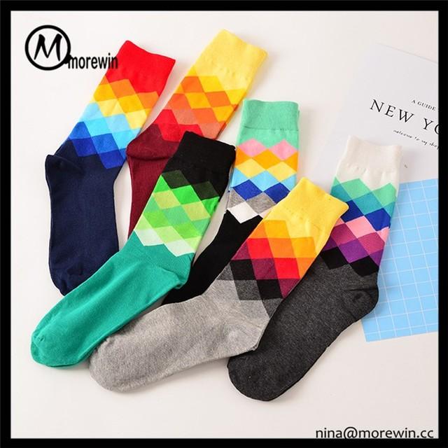 2017 Morewin Brand Hot selling Custom Fashion Colorful Mens Dress Socks