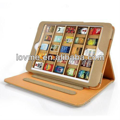 Olive & Tan Leather Wallet Smart Flip Case Cover for The New iPad Mini