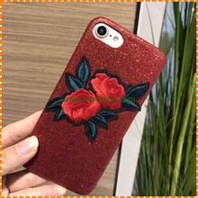 Manufacturer wholesale fashion style embroider Rose Pattern Cell Phone Case for iphone 6 plus