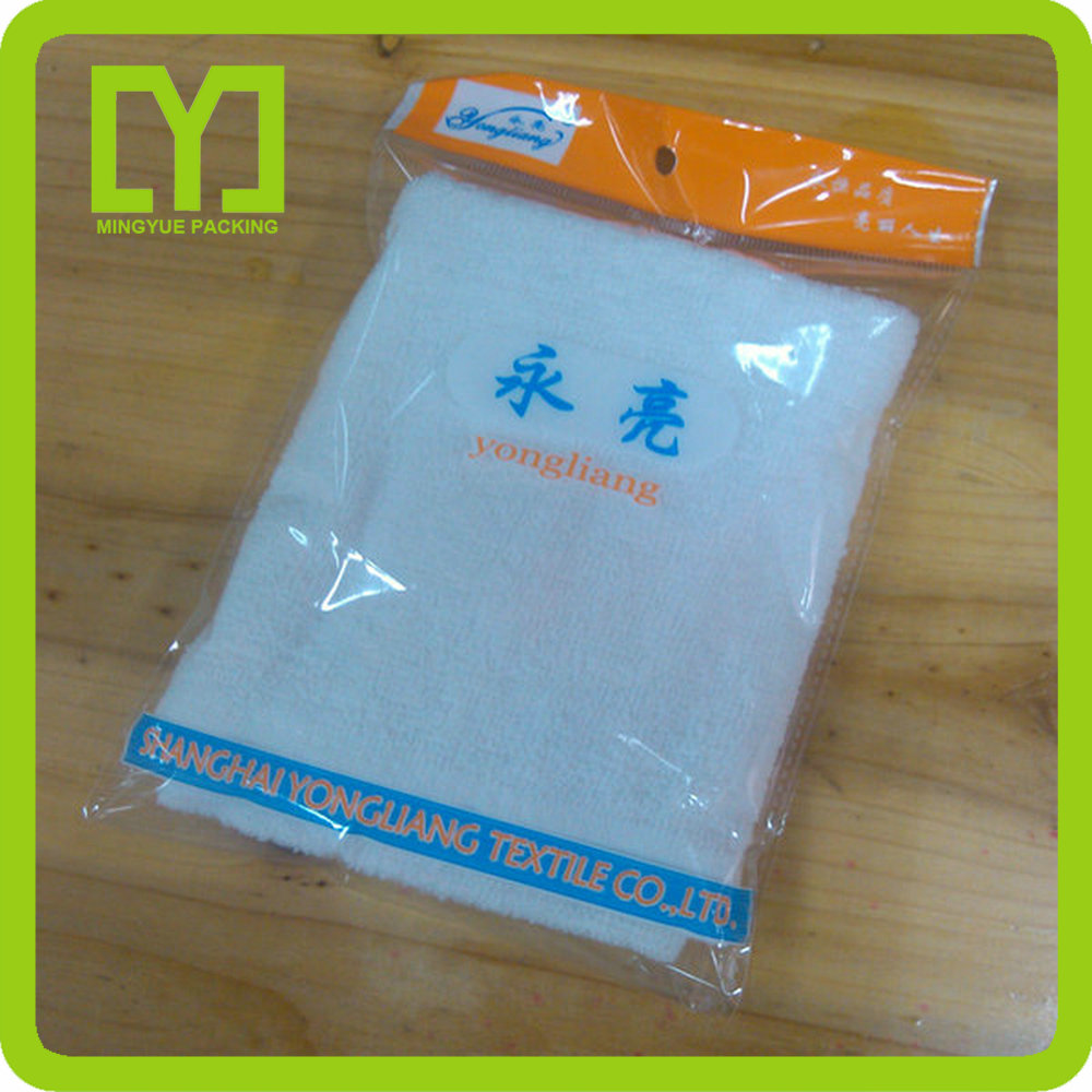 Yiwu clear printing polybag for garment,clear plastic opp header packaging bags,opp bag with hanging header