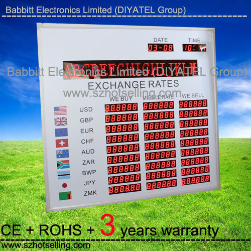 Hot sale hotel money exchange sign board / Exchange rate led display board Babbitt (BT6-81L77H-R)