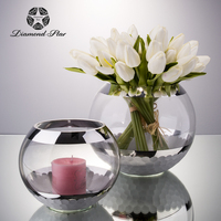 good sell hand blown mercury wedding centerpieces round glass flower vase home decoration