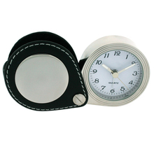 Leather Travel Clock Wholesale Price , Folding Leather Pouch Mini Round Travel Alarm Clock
