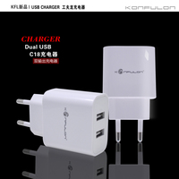 2016 Konfulon New Travel Wall Charger EUR Pin (USA Plue)Dual USB 2.1A Output Hot Sale For Mobile Smart Phone C18