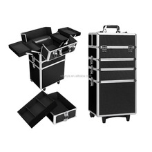 4 In 1 Makeup Trolley Beauty Case Portable Cosmetic Travel Carry Box Wheels BK