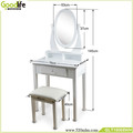 Bedroom furniture sets White modern mirrored designs of dressing table with almirah