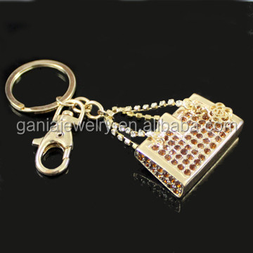 New Lady Rhinestone Rose Quilted HandBag Key Chains