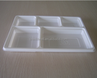 HIPS 5 compartment disposable rectangle plastic plate