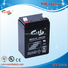 Sealed lead acid battery 12V 2.6Ah maintenance free