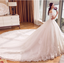 2017 Gorgeous Appliqued Rhinesstone Beaded Off Shoulder Long Tail Ball Gown Wedding Dress