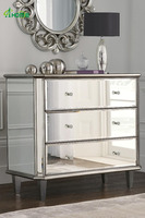 Modern Elegant Clear Pure Bedroom Vanity Mirrored Multi Drawers Bedside Chest with Wood Legs
