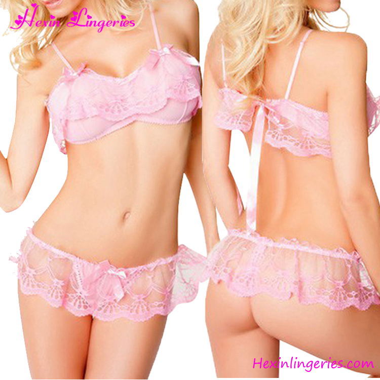 Factory Price Pink Lace Two Pieces Sexy Adult Girl Dress Lingeries Babydoll